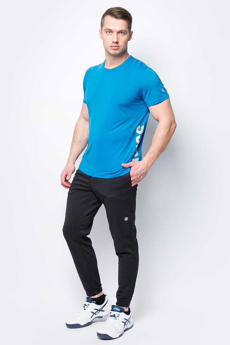 Футболка мужская Asics ESNT DBL GPX SS Top, цвет: темно-бирюзовый. 155235-8095. Размер XL (50)