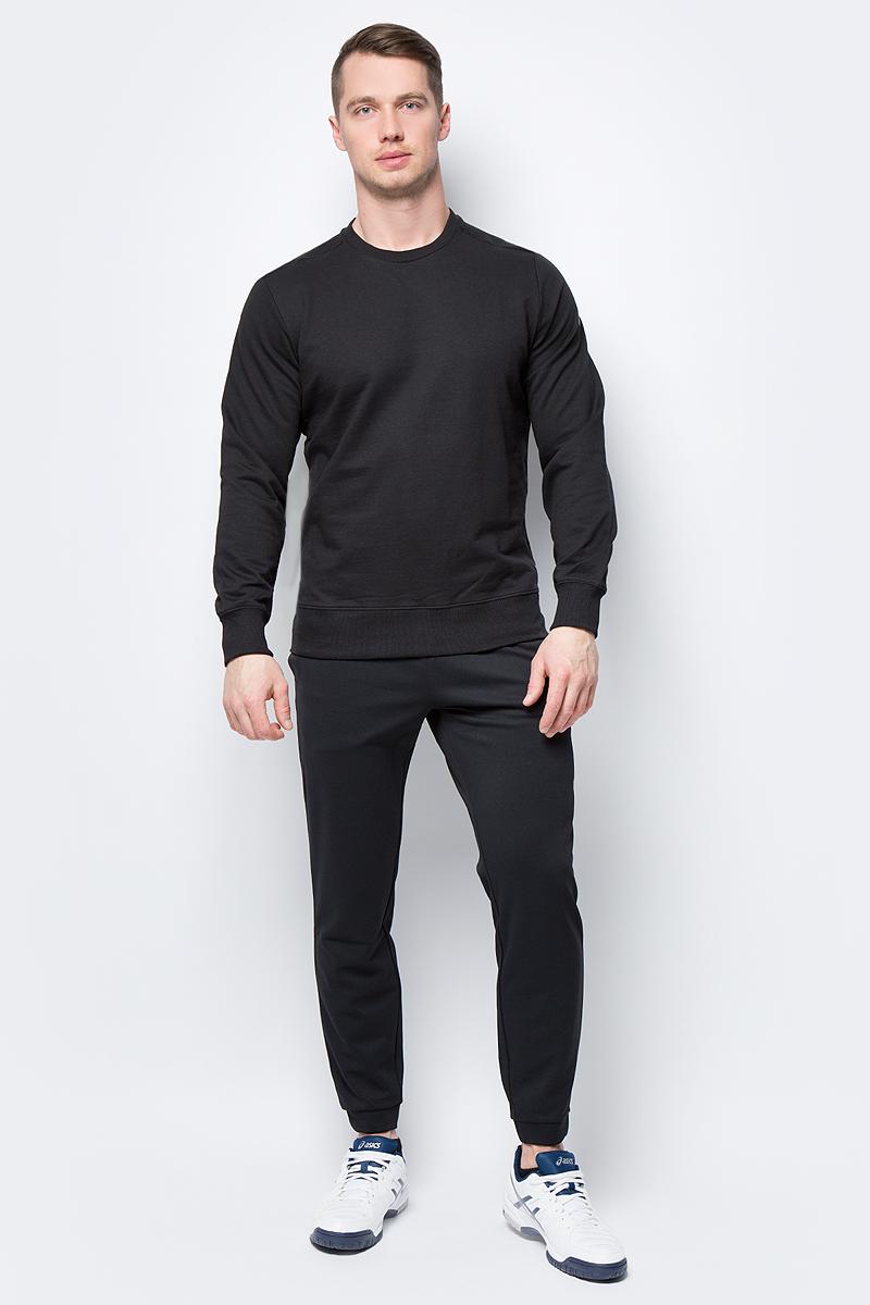 Свитшот мужской Asics Esnt Crew Hex, цвет: черный. 155218-0904. Размер XXL (52) костюм спортивный мужской asics sweater suit цвет черный 142895 0904 размер m 48 50