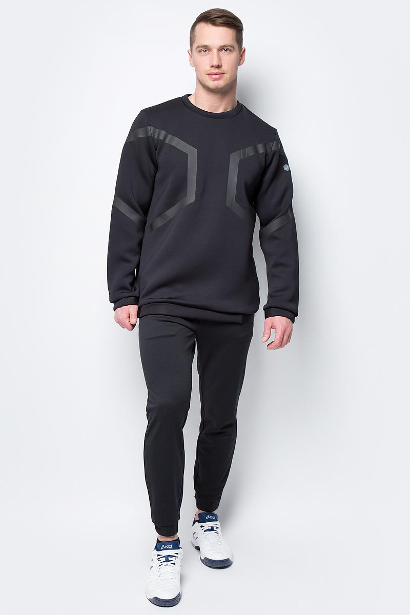 Толстовка мужская Asics Hexagon LS Crew Top, цвет: черный. 153349-0904. Размер XXL (52) майка мужская asics performance vest цвет черный 149102 0904 размер xxl 56