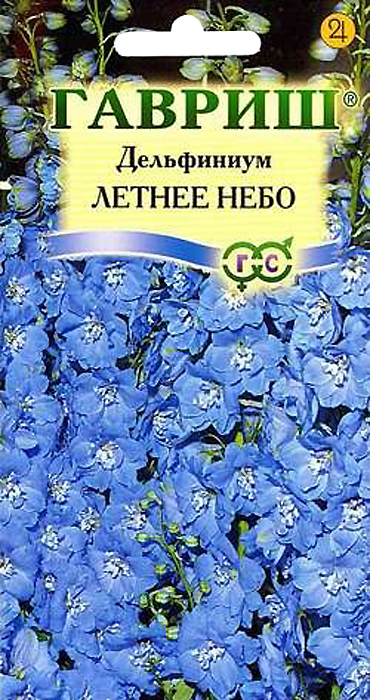Семена Гавриш Дельфиниум. Летнее Небо4601431003224Многолетнее растение семейства Лютиковые, высотой до 2 м с плотными кистевидными соцветиями голубых с белым глазком цветков. Цветет в июне-июле, вторичное цветение - в августе-сентябре, отцветшие соцветия обрезают для полноценного второго цветения. Хорошо растет на освещенных участках с легким затенением в полуденные часы. Предпочитает плодородные суглинистые и супесчаные, умеренно влажные почвы. Семена высевают осенью в открытый грунт или в марте на рассаду, в мае растения высаживают на постоянное место с расстоянием 35-40 см. Используются в групповых и одиночных посадках, для получения срезки. В срезанном виде стоят в воде до 10-12 дней. Все части дельфиниума ядовиты.