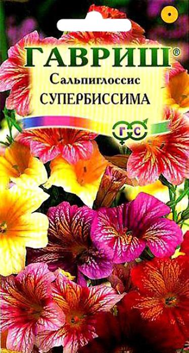 Семена Гавриш Сальпиглоссис. Супербиссима4601431003873Однолетнее изящное растение из семейства Пасленовые высотой 60 см. Цветение обильное с июня по сентябрь. Цветки воронковидные, разнообразной окраски (от белой до темно-фиолетовой) с бархатистыми лепестками, 5 см в диаметре. Выращивают чаще всего прямым посевом в грунт во второй половине апреля, расстояние между взрослыми растениями должно составлять 20-30 см. Светолюбив и теплолюбив, предпочитает защищенные от ветра участки с плодородными водопроницаемыми почвами. Плохо переносит пересадку и переувлажнение. Используют для посадки в группах, рабатках, на клумбах, а также для получения срезки и как горшечное растение.