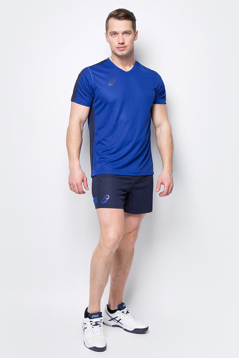 Костюм спортивный мужской Asics Man Volleyball Set: футболка, шорты, цвет: синий. 156850-0805. Размер XXXL (54) костюм спортивный женский asics woman lined suit куртка брюки цвет синий 156864 0805 размер xs 42