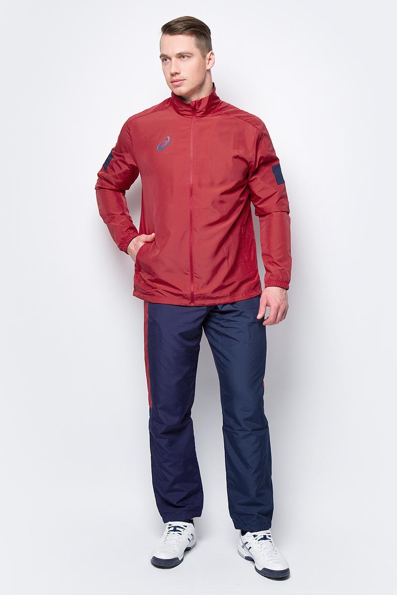 Костюм спортивный мужской Asics Man Lined Suit: куртка, брюки, цвет: красный, синий. 156853-0600. Размер M (46) костюм спортивный женский asics sweater suit цвет серый 142917 0798 размер s 42 44