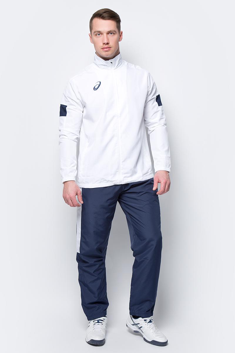 Костюм спортивный мужской Asics Man Lined Suit: куртка, брюки, цвет: белый, синий. 156853-0001. Размер XXL (52) костюм спортивный женский asics woman lined suit куртка брюки цвет синий 156864 0805 размер xs 42