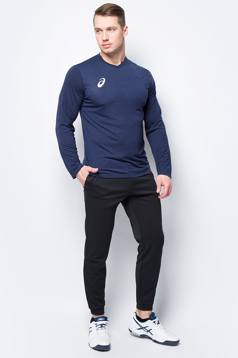 Поло мужское Asics Man Long Sleeve Tee, цвет: темно-синий. 156859-0891. Размер XXXL (54) long sleeve high low lace insert tee