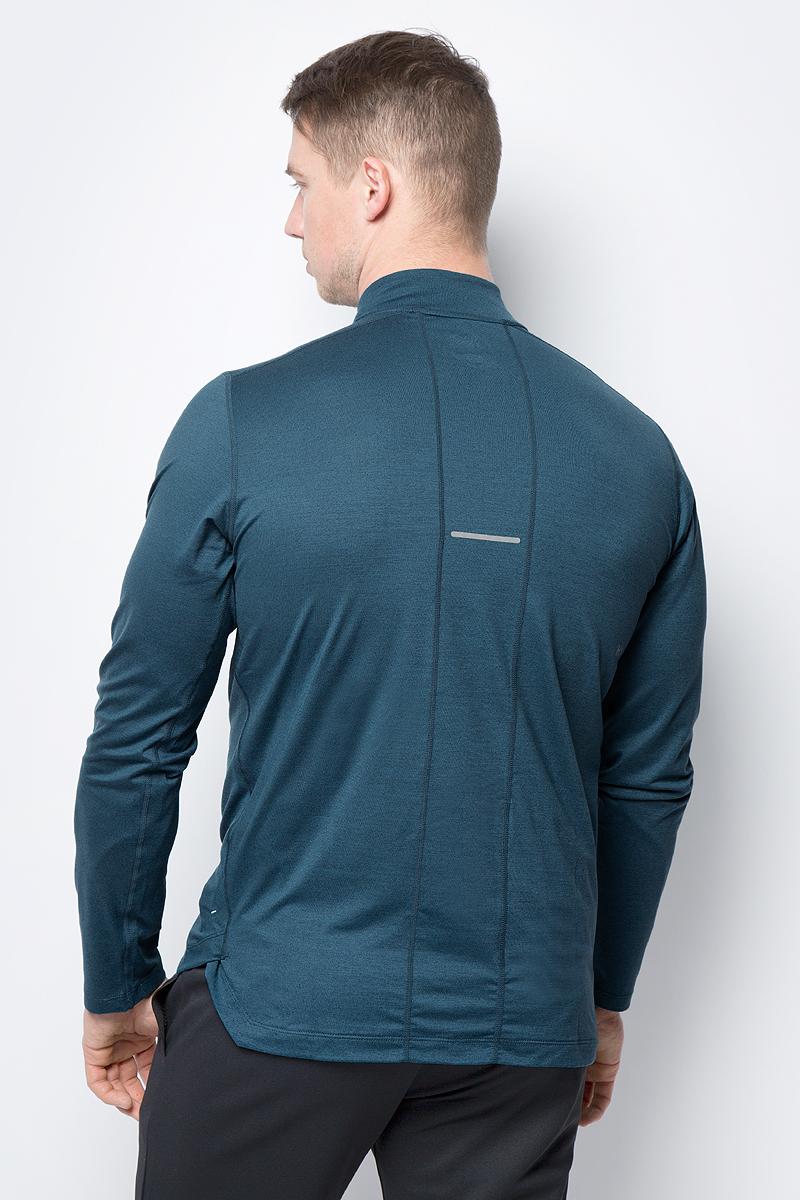 Лонгслив для бега от Asics выполнен из высококачественного материала. Модель с длинными рукавами и небольшим воротником-стойкой на груди застегивается на молнию.