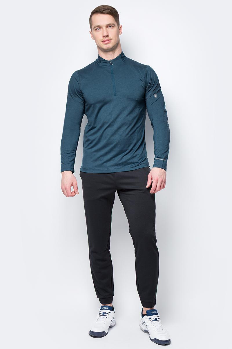 Лонгслив мужской Asics Ls 1/2 Zip Jersey, цвет: темно-бирюзовый. 154589-8297. Размер XXL (52) лонгслив мужской asics lite show ls top цвет черный 154232 0904 размер xxl 52