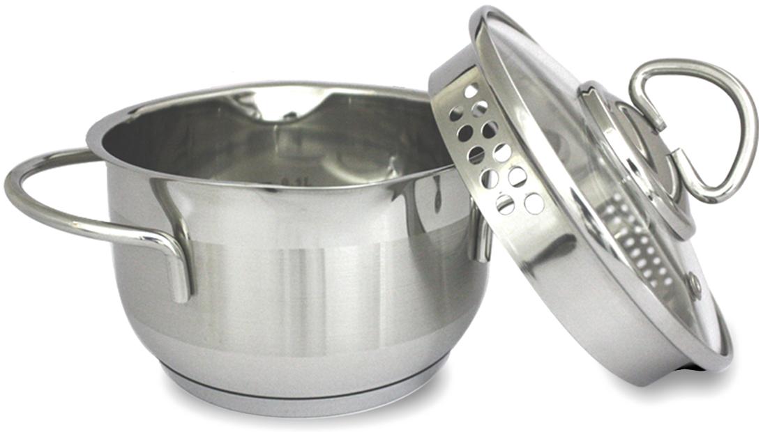 """Кастрюля TimA """"Универсал"""" изготовлена из высококачественной нержавеющей стали. Изделие имеет теплоемкое капсульное дно и два специальных носика на ободе для слива жидкости. Стеклянная крышка с паровыпуском и отверстиями различного диаметра в стальном ободке предназначены для безопасного слива жидкости. На внутренней стенке кастрюли имеется мерная шкала. Комбинирование матовой и зеркальной полировки придает посуде эстетичный вид."""