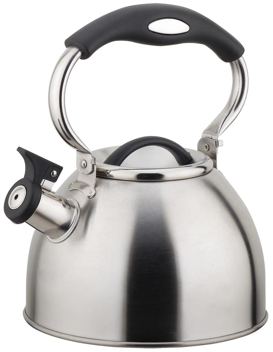 Чайник TimA, с подвижной ручкой, 2,5 лК-1021Чайник TimA имеет современный внешний вид, удобный механизм открывания носика, эргономичную ручку из приятного на ощупь нескользящего материала. Корпус чайника выполнен из высококачественной нержавеющей стали AISI 304, покрывающая пластина капсулированного дна из стали AISI 430, что позволяет использовать чайник на индукционной плите.