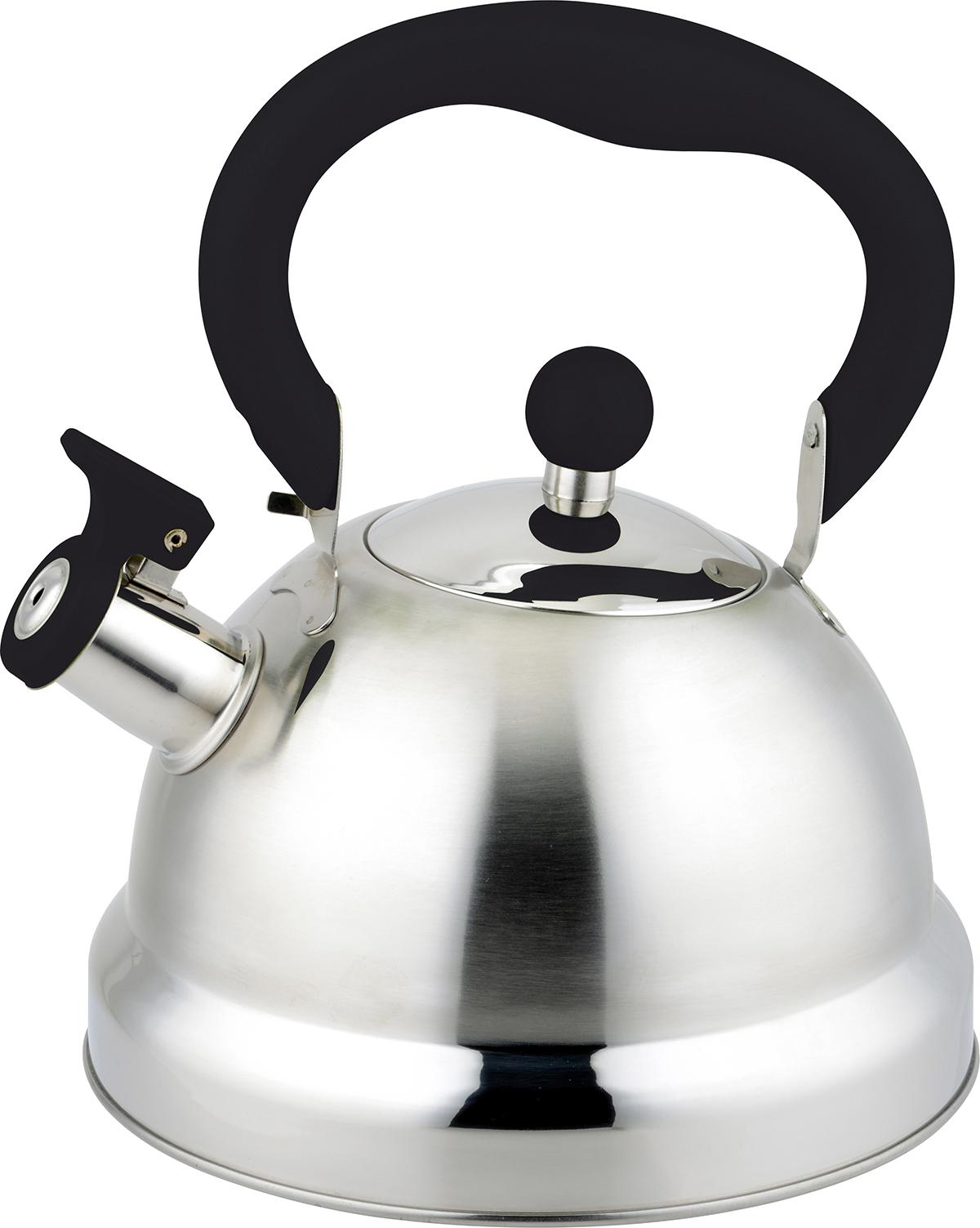 Чайник TimA, со свистком, 2 лК-1318Чайник TimA имеет современный внешний вид, удобный механизм открывания носика, эргономичную ручку из приятного на ощупь нескользящего материала. Корпус чайника выполнен из высококачественной нержавеющей стали AISI 304, покрывающая пластина капсулированного дна из стали AISI 430, что позволяет использовать чайник на индукционной плите.