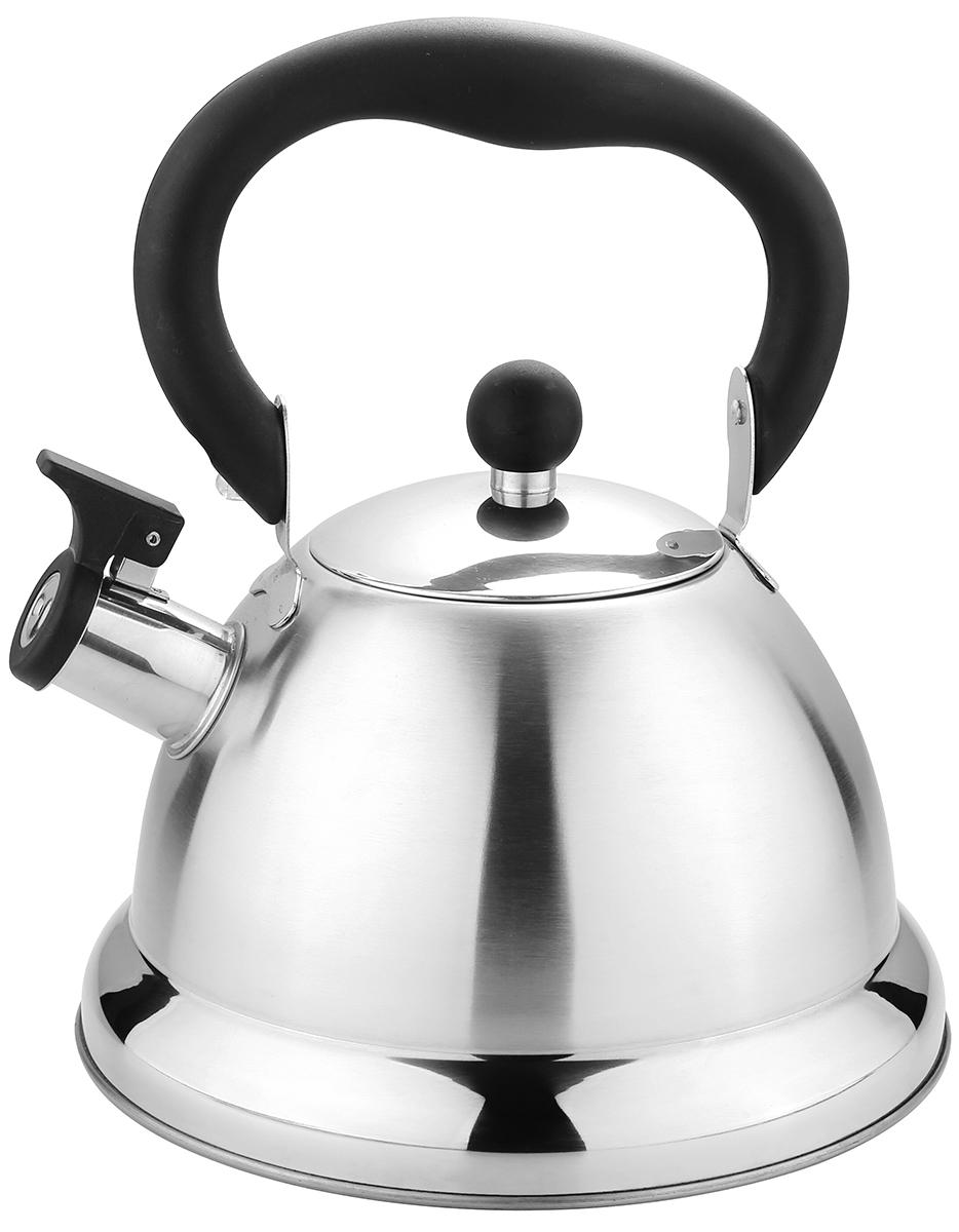 Чайник TimA, со свистком, 3,2 лК-1650Чайник TimA имеет современный внешний вид, удобный механизмоткрывания носика, эргономичную ручку из приятного на ощупь нескользящегоматериала. Корпус чайника выполнен из высококачественнойнержавеющей стали AISI 304, покрывающая пластина капсулированного дна изстали AISI 430, что позволяет использовать чайник на индукционной плите.