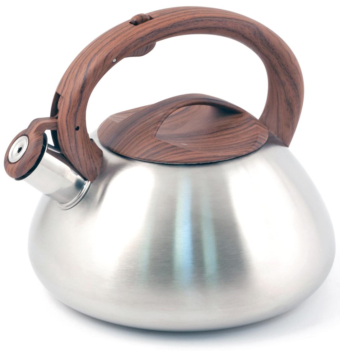 Чайник TimA, со свистком, 2,7 лК-1658Чайник TimA имеет современный внешний вид, удобный механизм открывания носика, эргономичную ручку из приятного на ощупь нескользящего материала. Корпус чайника выполнен из высококачественной нержавеющей стали AISI 304, покрывающая пластина капсулированного дна из стали AISI 430, что позволяет использовать чайник на индукционной плите.