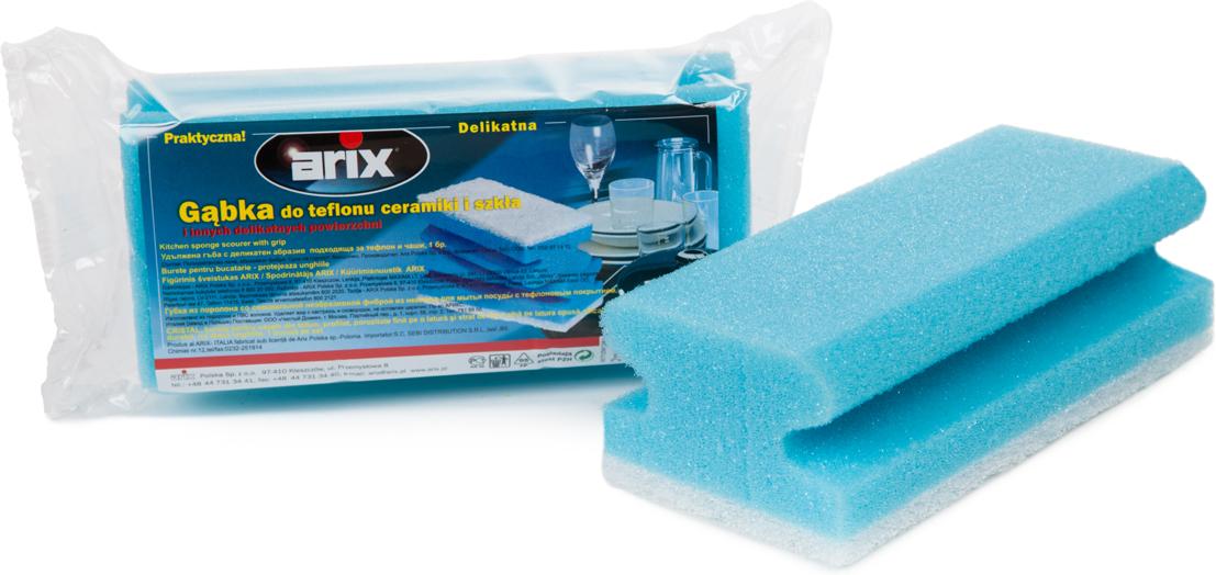 Губка для деликатных поверхностей ArixAP1261Губка профилированная из поролона со специальной неабразивной фиброй из нейлона для мытья деликатных поверхностей, в том числе посуды с тефлоновым покрытием. Предназначена для мытья любых деликатных поверхностей на кухне (фарфор, стекло, керамика) и в ванной (сантехника, плитка). Удаляет жир с кастрюль и сковородок, не оставляя царапин. Удобный анатомический вырез для руки. Большого размера. Фибра низкой абразивности – очищаемые поверхности не царапаются. Служит долго. Хорошо пенится. После каждого использования тщательно прополоскать. Размер: 15 х 7 х 4,5 см.Состав: поролон (пенополиуретан), фибра (полиэстер, полиамид).