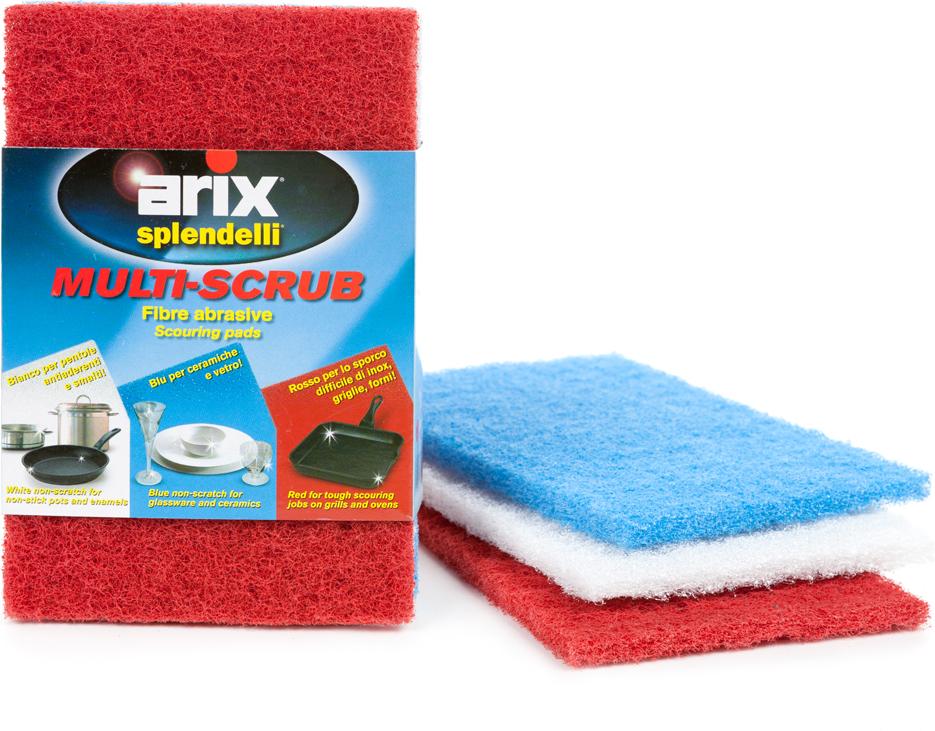 Губка для мытья посуды Arix, абразивная, 3 шт губка для мытья посуды фозет мини соты 2 шт