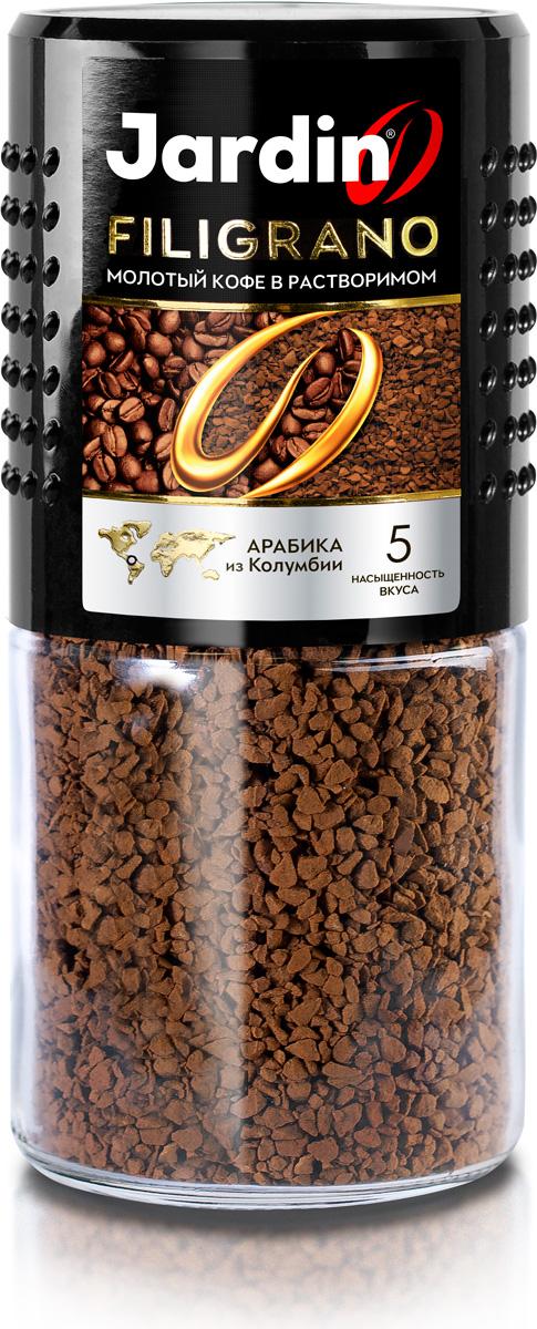 Jardin Filigrano кофе растворимый (стеклянная банка), 95 г1153-15100% Арабика из Колумбии объединяет сублимированный и молотый кофе в бленде Jardin Filigrano. Каждая гранула растворимого напитка содержит точно выверенную порцию молотого кофе. Этот продукт позволяет соединить великолепный вкус свежесваренного кофе и легкость приготовления растворимого.Кофе: мифы и факты. Статья OZON Гид