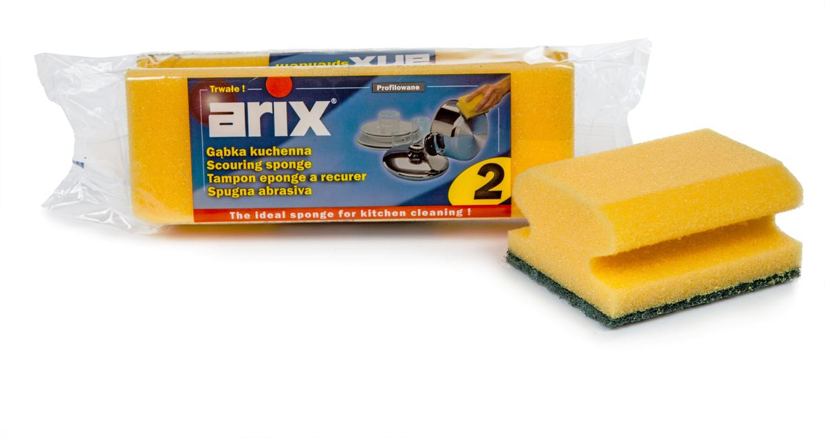 Губка для мытья посуды Arix, цвет: желтый, 2 шт губка для мытья посуды фозет мини соты 2 шт