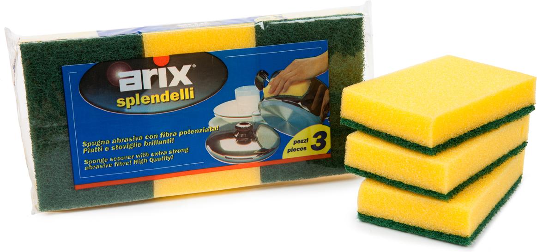 Губка для мытья посуды Arix, цвет: желтый, 3 шт губка для мытья посуды фозет мини соты 2 шт