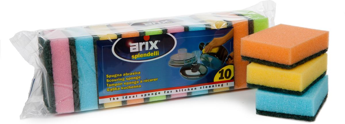 Губка для мытья посуды Arix Миди, 10 штAP1276Губки с фиброй цветные для уборки на кухне. Тщательно удаляет грязь с металлической, керамической и стеклянной посуды и всех деликатных поверхностей. Обладает высокими абразивными свойствами. Использовать с водой и моющими средствами. Перед первым использованием и после каждого последующего губку необходимо прополоскать. Размер: 80 x 60 x 25 см.Состав: поролон (пенополиуретан), фибра (полиэстер).