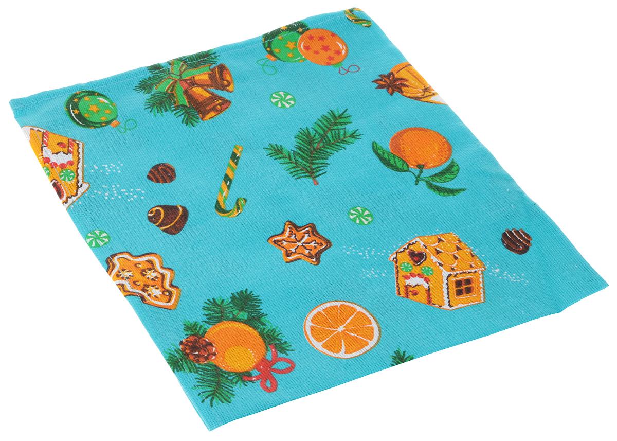 Набор Мультидом Новогоднее настроение: полотенце и салфетка, цвет: бирюзовый, оранжевыйМТ2-67_бирюзовый, оранжевый