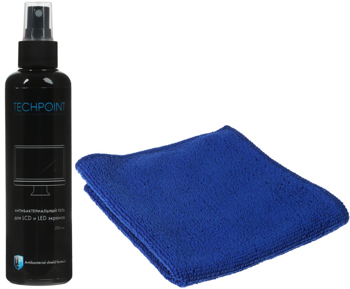 Набор Techpoint Antibacterial Screen Cleaning Kit: гель, салфетка, для ухода за LED и LCD экранами, цвет: синий средство чистящее techpoint powerclean для очистки плит и духовых шкафов 500 мл
