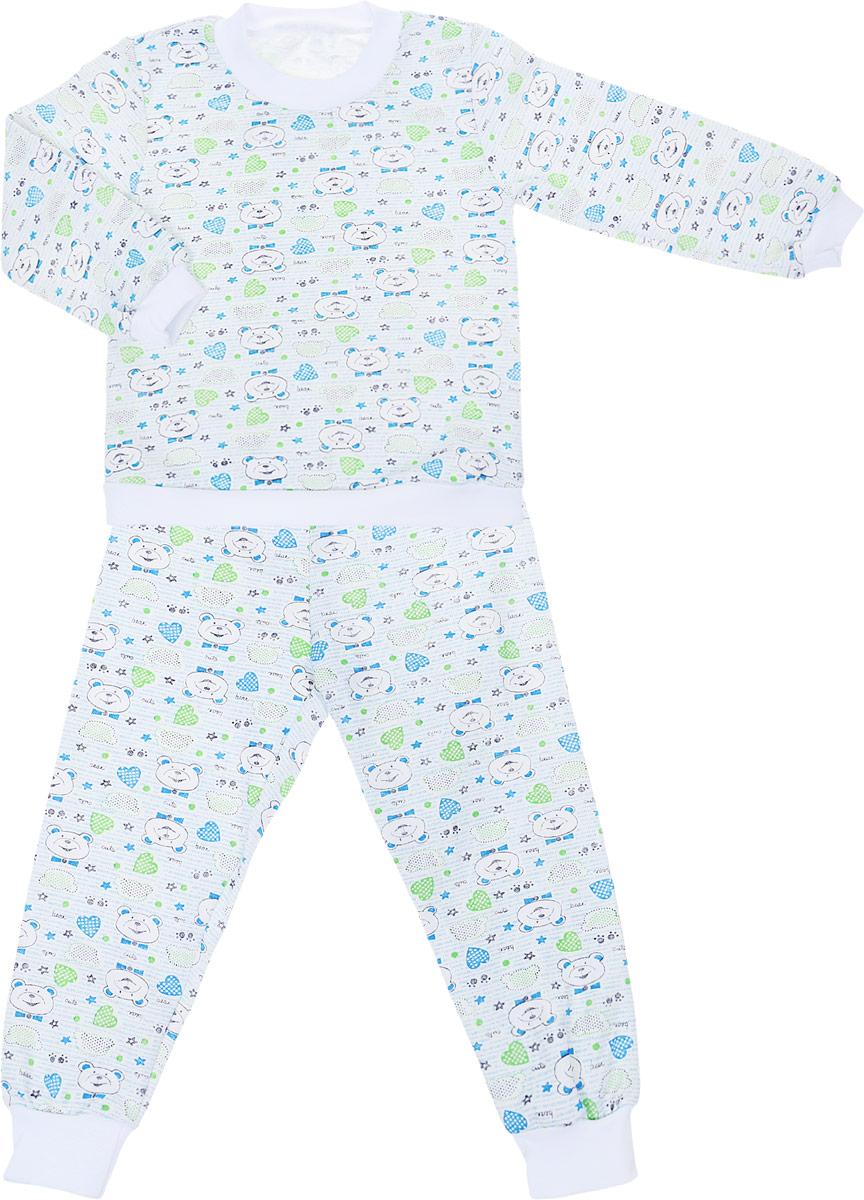Пижама детская Фреш Стайл, цвет: белый. 21-5872. Размер 9821-5872Детская пижама Фреш Стайл выполнена из натурального хлопка. Изнаночная сторона изделия с мягким и теплым начесом. Футболка с длинными рукавами имеет круглый вырез горловины, оформленный трикотажной резинкой. На рукавах предусмотрены мягкие манжеты. Низ изделия дополнен широкой трикотажной резинкой.Брюки имеют эластичный пояс. Брючины дополнены манжетами.Пижама оформлена принтом.