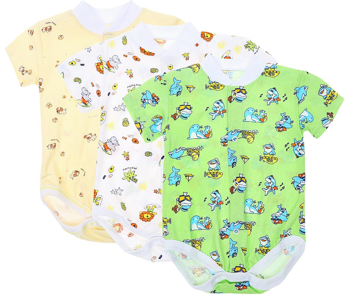 Боди-футболка детское Фреш Стайл, цвет: желтый, белый, зеленый, 3 шт. 10-325м. Размер 74, 9 месяцев