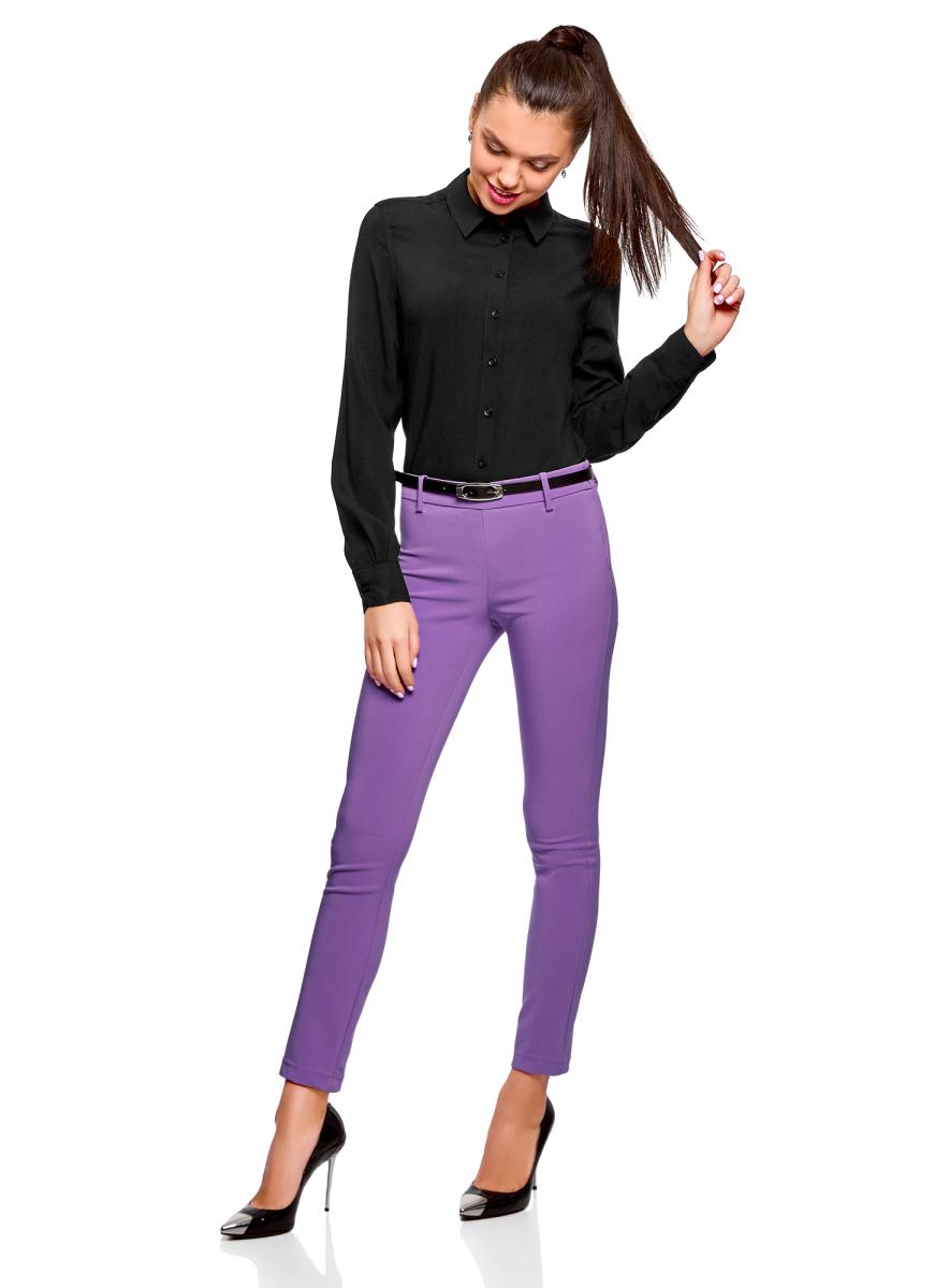Блузка женская oodji Ultra, цвет: черный. 11411136B/26346/2900N. Размер 44 (50-170) блузка женская oodji ultra цвет черный 11411126 45873 2900n размер 40 46 170