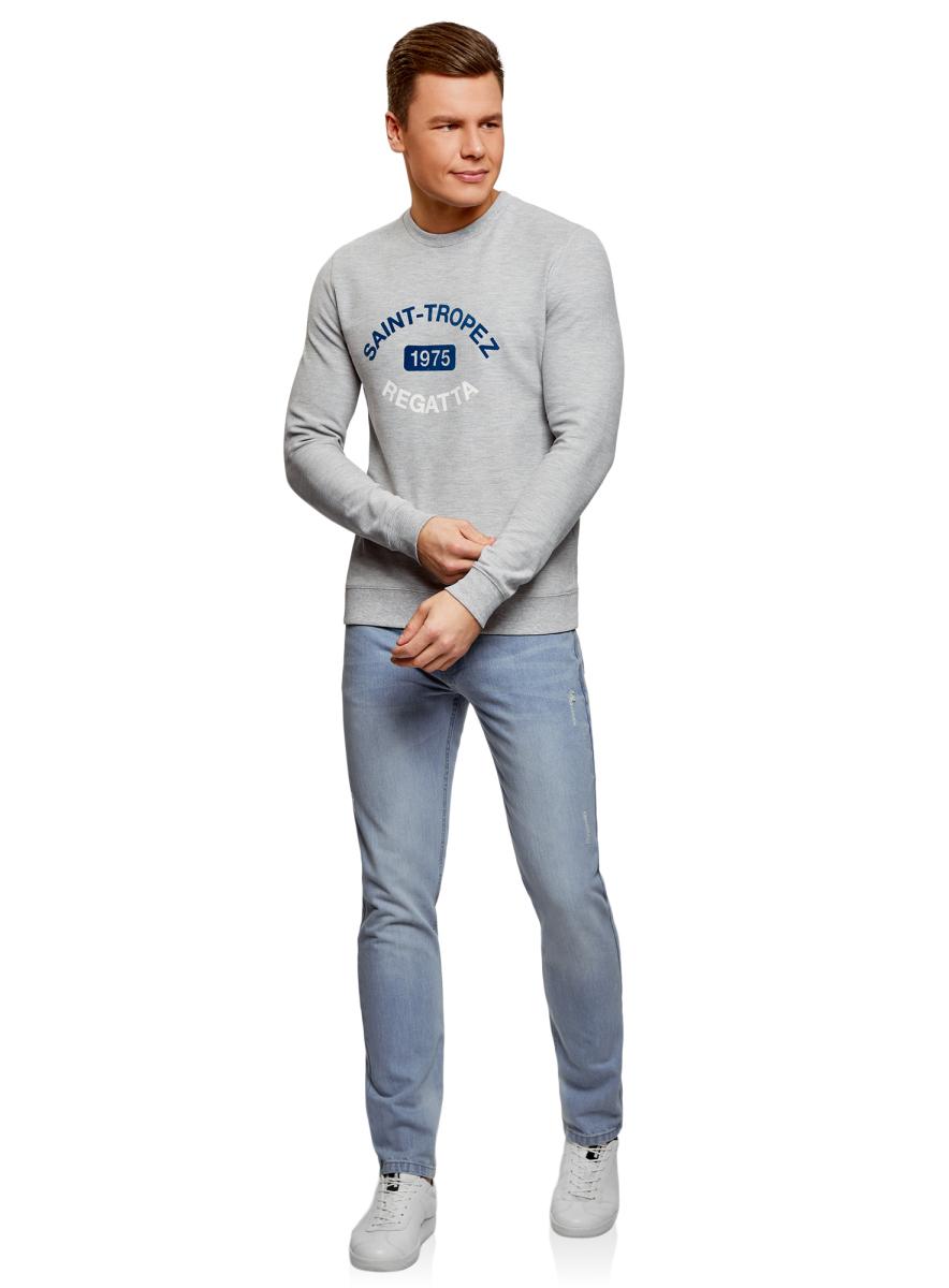 Джинсы мужские oodji Basic, цвет: голубой джинс. 6B130028M/35771/7000W. Размер 36-34 (56-34)6B130028M/35771/7000WДжинсы от oodji выполнены из натурального хлопкового денима. Модель зауженного кроя со средней посадкой в поясе застегивается на пуговицу, имеет ширинку на молнии и шлевки для ремня. Джинсы имеют классический пятикарманный крой.