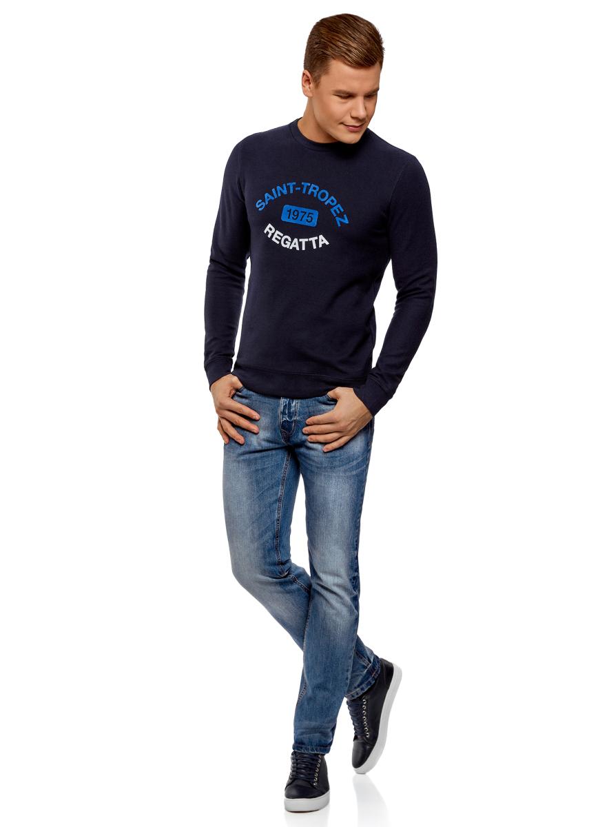 Джинсы мужские oodji Basic, цвет: голубой джинс. 6B130028M/35771/7400W. Размер 28-32 (44-32)6B130028M/35771/7400WДжинсы от oodji выполнены из натурального хлопкового денима. Модель зауженного кроя со средней посадкой в поясе застегивается на пуговицу, имеет ширинку на молнии и шлевки для ремня. Джинсы имеют классический пятикарманный крой.