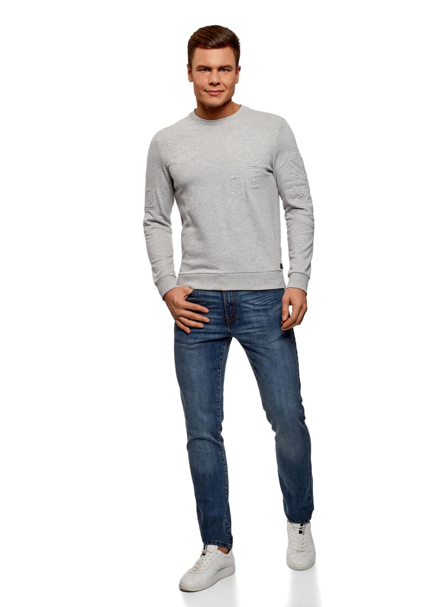 Джинсы мужские oodji Basic, цвет: синий джинс. 6B120054M/45068/7500W. Размер 34-34 (54-34) джинсы женские oodji ultra цвет синий джинс 12103151 1 45379 7500w размер 27 32 44 32