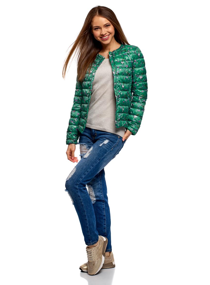 Куртка женская oodji Ultra, цвет: изумрудный, розовый. 10204040-1B/42257/6D41F. Размер 36 (42-170)10204040-1B/42257/6D41FЖенская куртка oodji c длинными рукавами выполнена из прочного полиэстера. Модель застегивается на застежку-молнию и кнопку сверху.