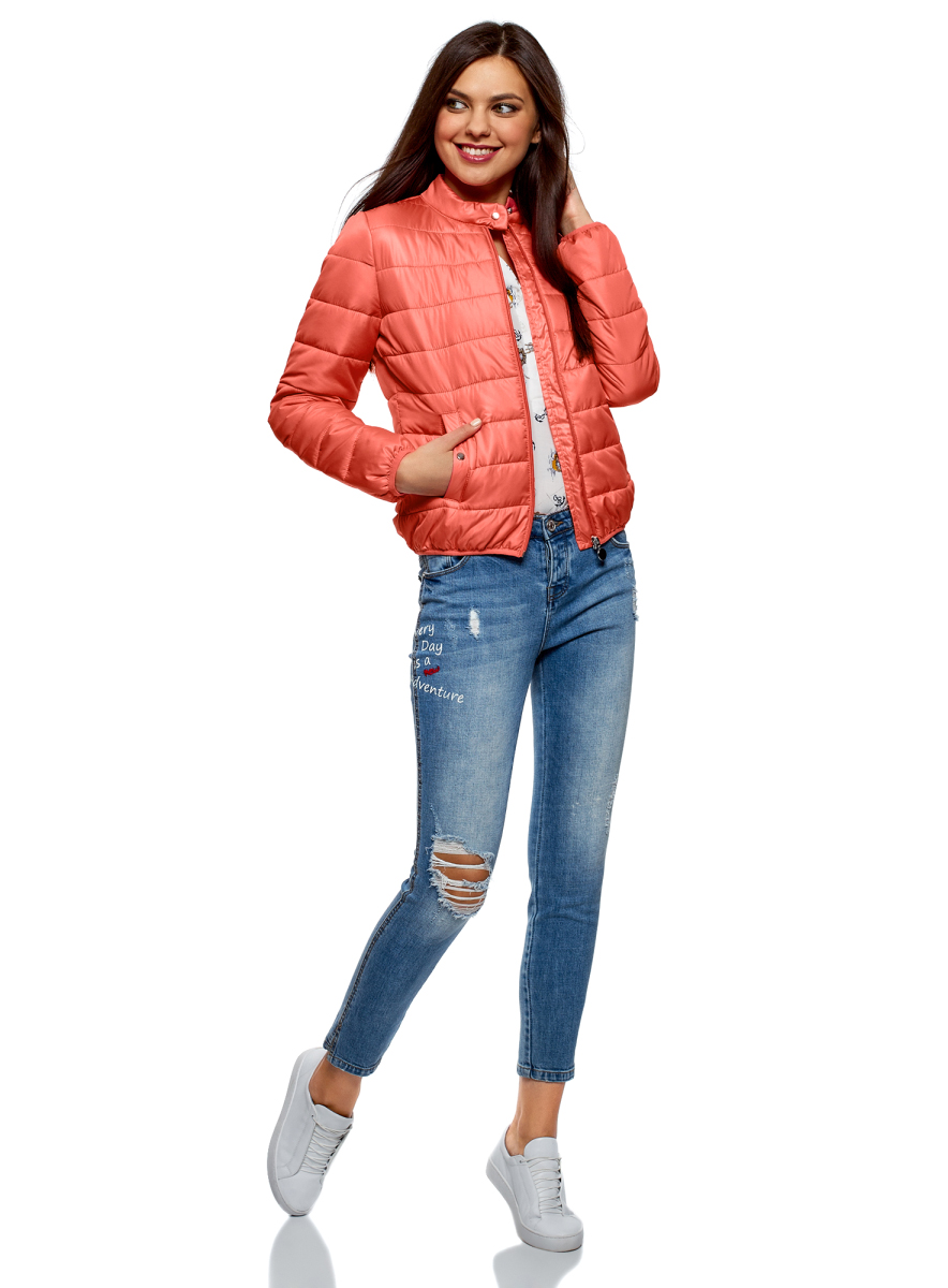 Куртка женская oodji Ultra, цвет: коралловый. 10203060B/43363/4300N. Размер 44 (50-170)