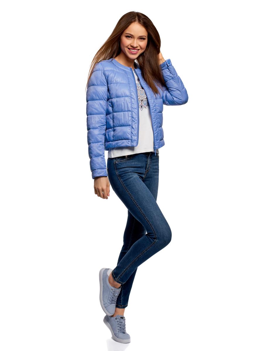 Куртка женская oodji Ultra, цвет: голубой. 10203050-2B/33445/7502N. Размер 40 (46-164)10203050-2B/33445/7502NКуртка женская oodji Ultra выполнена из полиамида. Модель с длинными рукавами и круглым вырезом горловины застегивается на застежку-молнию.