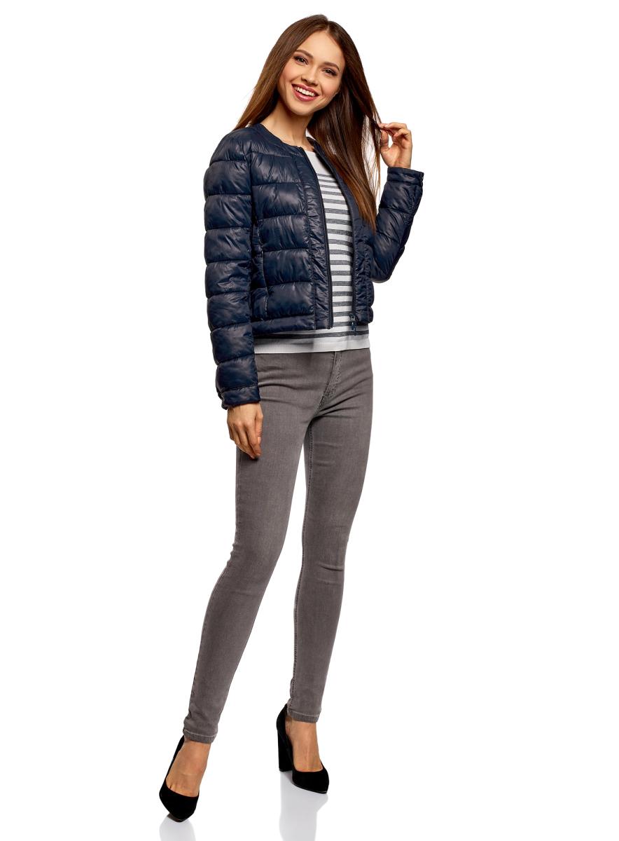 Куртка женская oodji Ultra, цвет: темно-синий. 10203050-2B/33445/7900N. Размер 44 (50-164)10203050-2B/33445/7900NКуртка женская oodji Ultra выполнена из полиамида. Модель с длинными рукавами и круглым вырезом горловины застегивается на застежку-молнию.