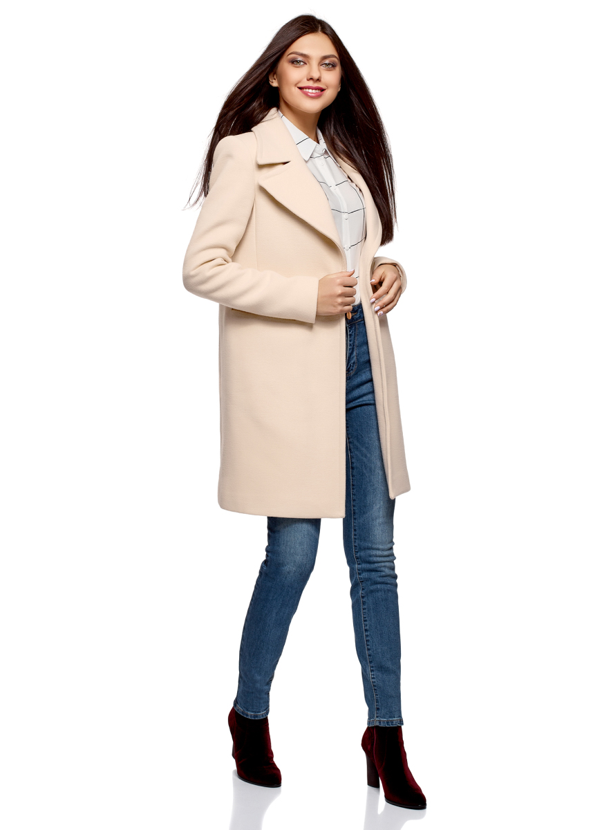 Пальто женское oodji Ultra, цвет: бежевый. 10103035/46452/3300N. Размер 34 (40-170)10103035/46452/3300NПальто от oodji выполнено из высококачественного плотного материала. Модель приталенного кроя с длинными рукавами и лацканами застегивается на пуговицу.
