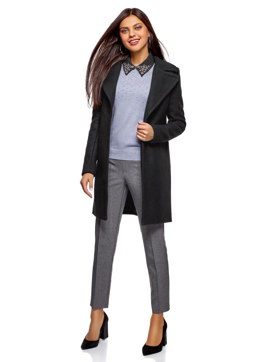 Пальто женское oodji Ultra, цвет: черный. 10103035/46452/2900N. Размер 38 (44-170)10103035/46452/2900NПальто от oodji выполнено из высококачественного плотного материала. Модель приталенного кроя с длинными рукавами и лацканами застегивается на пуговицу.