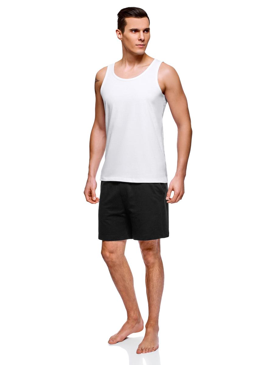 Пижама мужская oodji Basic, цвет: белый, черный. 7B412001M/44135N/1029N. Размер S (46/48) футболка мужская oodji basic цвет светло коралловый 5b621002m 44135n 4100n размер s 46 48