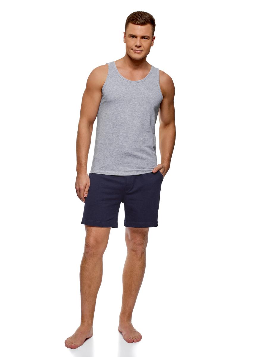 Пижама мужская oodji Basic, цвет: светло-серый, темно-синий меланж. 7B412001M/44135N/2079M. Размер L (52/54)7B412001M/44135N/2079MПижама хлопковая с шортами