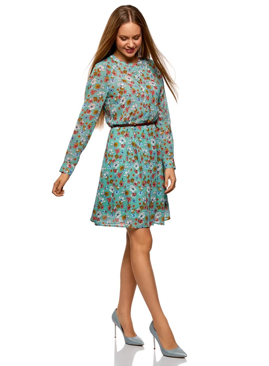 Платье oodji Collection, цвет: ментоловый, кремовый, цветы. 21912001-4B/17358/6530F. Размер 42 (48-170)21912001-4B/17358/6530FПриталенное шифоновое платье из шелковистой ткани с тонким ремнем из искусственной кожи в комплекте. Модель с длинными рукавами с манжетами, небольшим округлым вырезом и застежкой на планку смотрится сдержанно и элегантно. Ремешок красиво подчеркивает талию и стройнит силуэт. Платье на подкладке, верх из приятной струящейся ткани. Модель приталенного кроя с расклешенным подолом в мягкую складку подходит для разных фигур. Элегантное платье с длинными рукавами – отличный вариант для вашего повседневного гардероба. Оно незаменимо, когда требуется создать женственный и одновременно сдержанный наряд. В прохладную погоду платье можно дополнить кардиганом, жилетом из искусственного меха или пальто. Обувь и аксессуары помогут вам расставить правильные акценты. В этом платье вы будете выглядеть женственно и нежно.