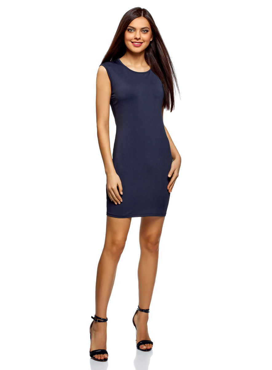 Платье oodji Ultra, цвет: темно-синий. 14008014-6B/46943/7900N. Размер L (48)14008014-6B/46943/7900NТрикотажное платье от oodji выполнено из эластичного полиэстера. Модель облегающего силуэта с короткими рукавами и круглым вырезом горловины.
