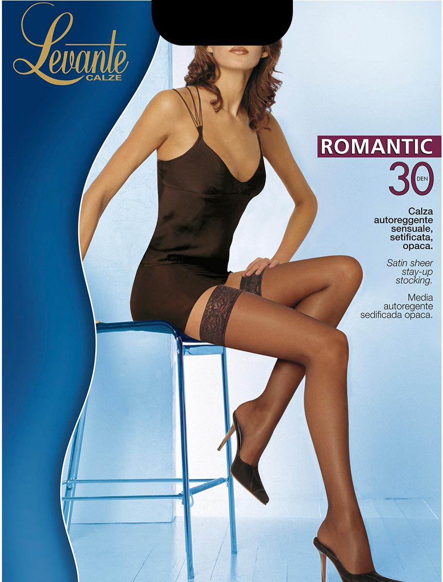 Чулки Levante Romantic 30, цвет: Glace (темно-бежевый). Размер 4Romantic 30Шелковистые тонкие чулки с ажурной резинкой на силиконовой основе. Уплотненный мысок.