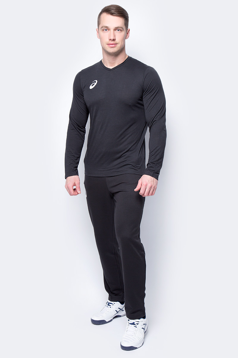 Поло мужское Asics Man Long Sleeve Tee, цвет: черный. 156859-0904. Размер XXXL (54) long sleeve high low lace insert tee