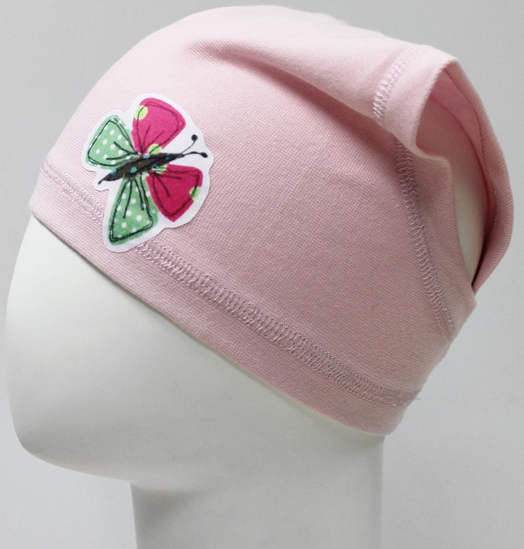 Шапка для девочки Marhatter, цвет: светло-розовый. MGX7466. Размер 50/52MGX7466Легкая косынка для девочки из хлопка с добавлением лайкры. Модель украшена аппликацией в виде бабочки. Уважаемые клиенты!Размер, доступный для заказа, является обхватом головы.