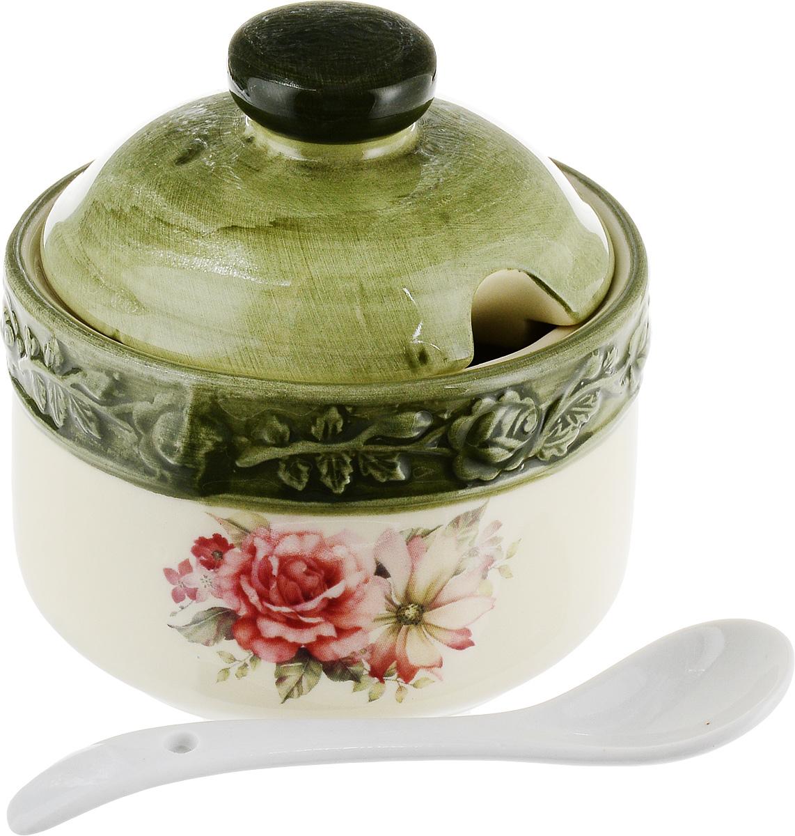 Банка для специй Elan Gallery Розы, с ложкой и крышкой, цвет: белый, сиреневый, 200 мл банка для специй banquet crystal с клипсой 3 л
