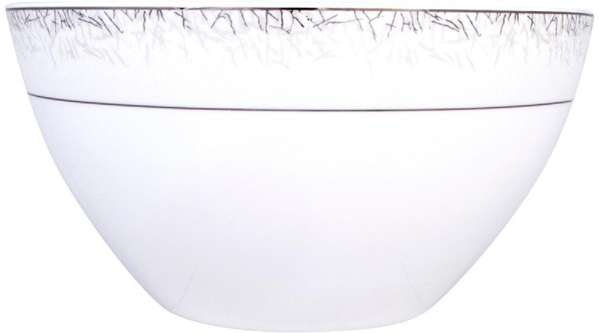 """Салатник Royal Aurel """"Иней"""" выполнен из костяного фарфора.  Фарфор """"Royal Aurel"""" отличается исключительной белизной, что объясняется уникальными  компонентами и традиционной технологией, по которой он был изготовлен. Белая глина из  провинции Фуцзянь и традиционные рецепты китайских мастеров создают неповторимую  композицию. Дизайн коллекций выполнен в соответствии с актуальными европейскими  тенденциями."""