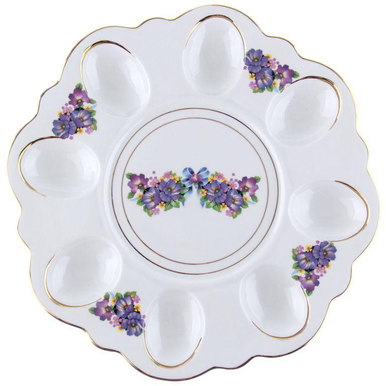 Блюдо пасхальное - фарфоровое блюдо для яиц и кулича, подарок на Пасху, прекрасно дополнит сервировку праздничного стола, послужит хорошим и добрым подарком.
