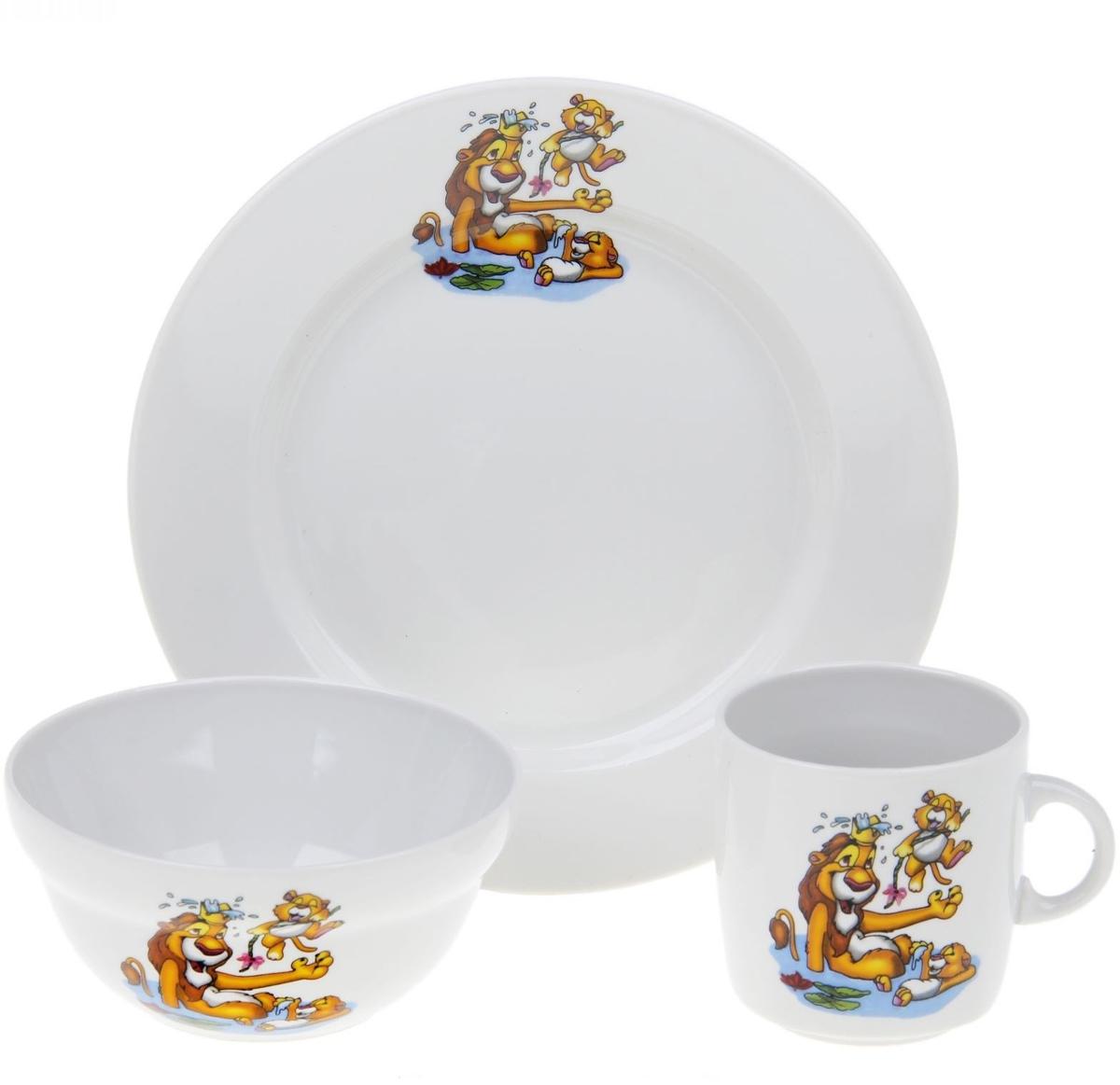 Набор детской посуды Фарфор Вербилок Лев. 3986128К набор детской посуды фарфор вербилок тигрята 3 предмета 1302153