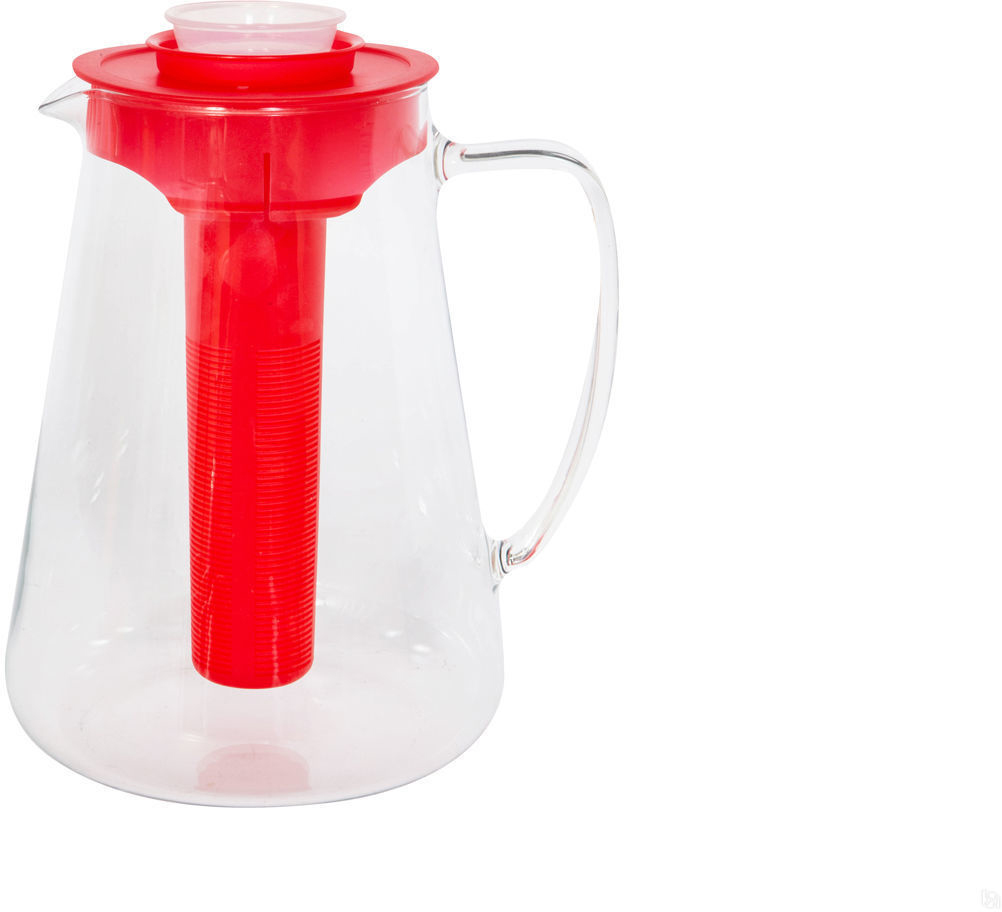 Кувшин Tescoma Teo, с ситечком, цвет: красный, 2,5 л. 646628.20646628.20Кувшин TEO 2.5 л, с ситечком для настаивания и охлаждающей частью отлично подходит для приготовления и сервировки холодных и горячих напитков. Термостойкий - можно нагревать напитки прямо на плите. Крышка с встроенным ситечком, поэтому не пропускает ягоды. Изготовлен кувшин из термостойкого боросиликатного стекла, крышка из качественного пластика. Возможно мытье в посудомоечной машине. Подходит для компотов, соков, талой воды. Очень удобно для большой семьи! Цвет: белый, желтый, оранжевый, красный, зеленый Материал: стекло, пластик