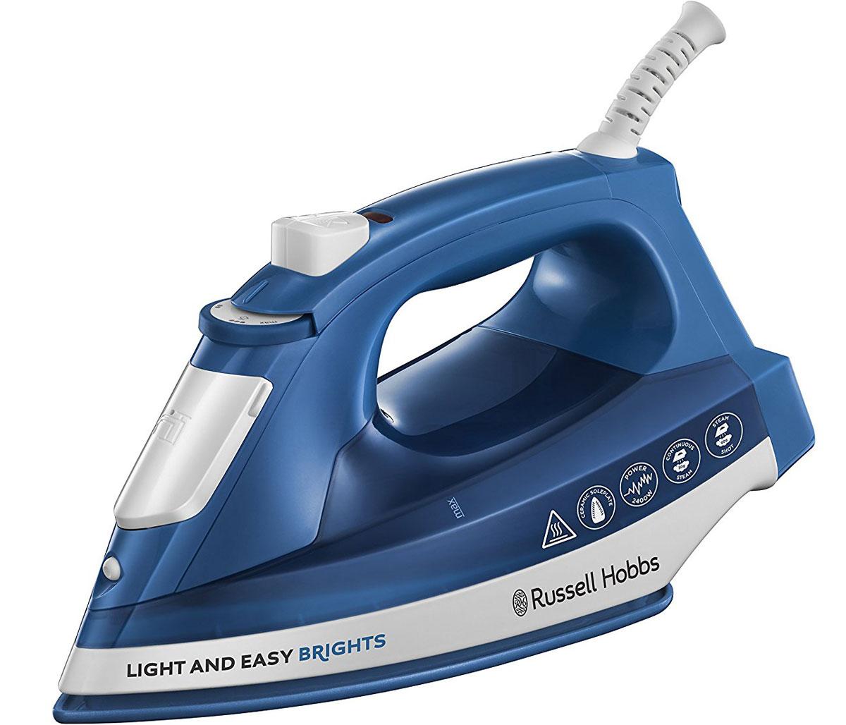Russell Hobbs 24830-56 Light & Easy Brights, Blue утюг24830-56;24830-56С ярким и стильным утюгом Russell Hobbs 24830-56 Light & Easy Brights глажение перестает быть скучным занятием.Функция Спрей и Паровой ударНемного увлажните пересохший участок ткани с помощью функции Спрей или воспользуйтесь паровым удароммощностью 90 г/мин для легкого разглаживания сложных замятостей.Вертикальный парНе тратьте время на глажение больших тканей, например, занавесок. Опция вертикального отпариванияпозволяет выгладить заломы на занавесках быстро в любой момент без хлопот.Автоматическая регулировка параТехнология автоматической регулировки пара устанавливает мощность подачи пара в зависимости от выбранноготемпературного режима.Емкость для воды 240 млУтюг вмещает 240 мл воды, чего хватает на большое количество белья, а с помощью специального стаканчика длязалива воды, резервуар утюга можно заполнять, не отключая его.