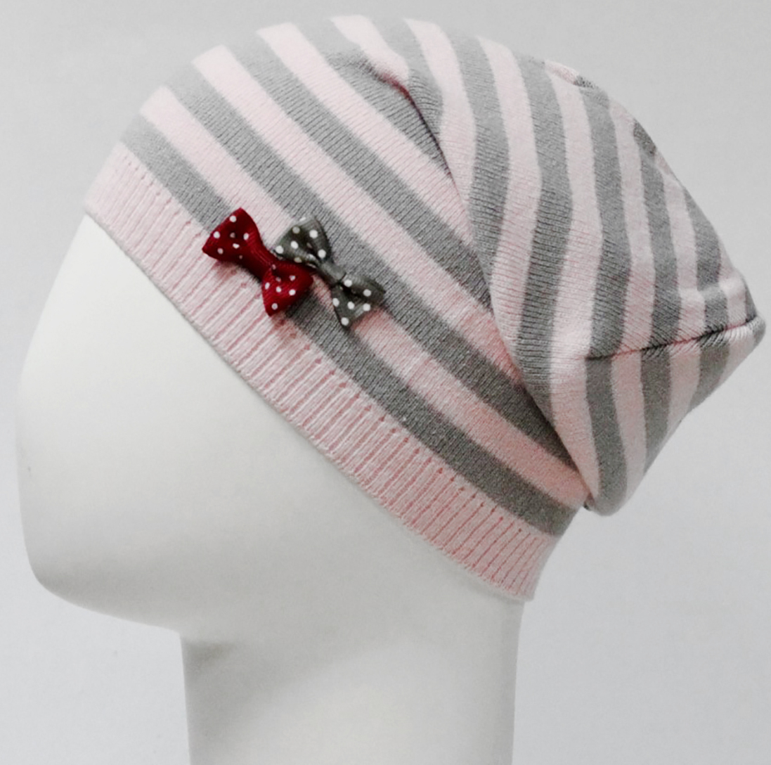 Шапка для девочки Marhatter, цвет: светло-розовый, светло-серый. MGH7573. Размер 50/52 шапка для девочки marhatter цвет светло розовый mdh7223 размер 40 42
